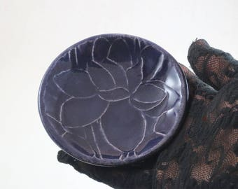 Lotus-Water Lily Offering Bowl in Teal  Handmade Pottery