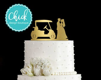 Country Club Wedding Golf Wedding Cake Topper Hand Painted in Metallic Paint