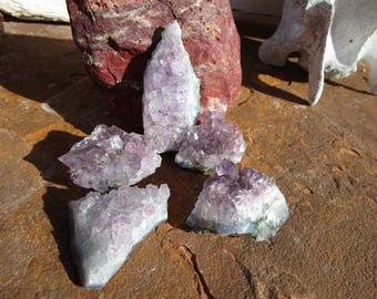 Five Amethyst Crystal Clusters~Druzy~Jewelry Supply~Sobriety~Calmness~#5