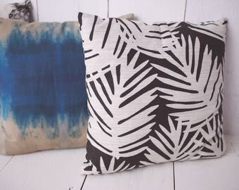 "Black and Cream / Tropical Leaves / Modern Tropical Home 18"" x 18"" Pillow Cover - High quality zippered pillow cover"