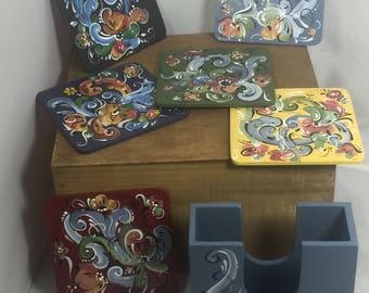 Set of 6 rosemaled coasters with holder