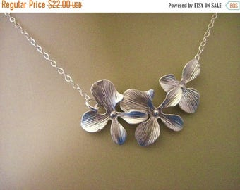 ON SALE Silver Orchid Necklace