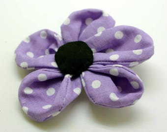 Purple polka dot flower brooch white
