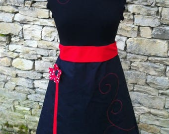 Spirited away red and black and embossed flowers dress