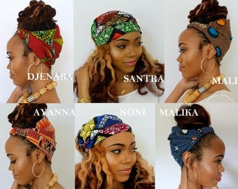 Satin Lined Headband Wrap, Wide Headband, Pineapple Bun Wrap, Ankara African Turban Wrap, - Choose Color