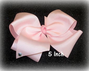 Big Pink Bow, 5 inch bow, large hairbows, jumbo hair bow, extra large bows, pageant bow, dance bows, cheer bow, x-tra large bow, basic bow