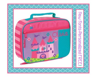 New Fonts- Personalized PRINCESS CASTLE New Girl's Lunch Box- Matches Unicorn or Princess Bag- Pink, Purple Monogrammed
