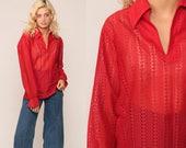 Sheer Lace Top 70s Blouse Red Lace Shirt Hippie Top Boho Shirt Bohemian Tunic Top Vintage 1970s Shirt Long Sleeve Large