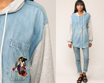 Mickey Mouse Hoodie Disney Shirt Denim MINNIE 90s Button Up Hood Vintage Long Sleeve Grunge Jean Shirt Hipster Blue Oversized Large