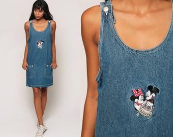 Jean Dress MICKEY and MINNIE Mouse Denim Jumper 90s Mini Overall Disney Pinafore 1990s Grunge Blue Vintage Minidress Sleeveless Small Medium