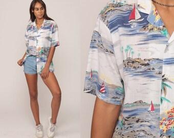 Hawaiian Shirt Tropical Shirt 80s PALM TREE Blouse SURFER Button Up Shirt Sailboat Print Top Beach Sea Ocean Blue White Large