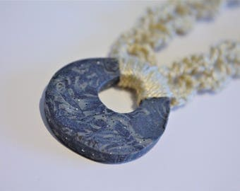 Blue and Gray Polymer Clay Crochet Pendant