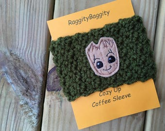 Coffee Cup Cozy in Olive with a Groot Applique - Guardians of the Galaxy Inspired - Groot Cozy - Guardians of the Galaxy Cozy