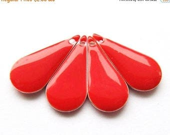 20% OFF Metal & Epoxy Teardrop Drops - Silver Plated Cherry Red (4 drops) - spa418