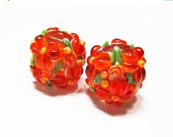 20% OFF LOOSE BEADS - Lampwork Glass Art Beads - Fiery Orange, Apricot Orange, and Spring Green Fancy Flower Rounds (2 beads) - gla935