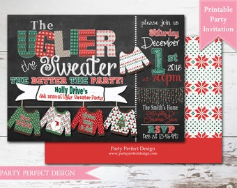 Chalkboard Ugly Sweater Christmas Party Invitation, Ugly Christmas Sweater- Print Your Own