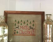 Handmade Cross Stitched Primitive Country Christmas 8 x 10 Picture Wallhanging Easel Back Tabletop Decor