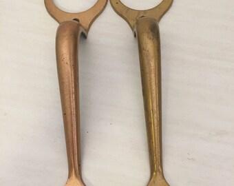 Brass/Metal KWIKSET DOOR HANDLES, Escutcheon, Brass, For Round Door Knob, Outside Door Handle Set of 2 at A Vintage Revolution