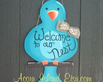 FREE SHIPPING! Blue Bird Door Hanger to Customize or Personalize any Way You Want! Choose Your Color and Wording to Make it Yours!