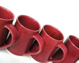 Set of 4 Large Handmade Ceramic Mug -- Red 16 oz Hand thrown clay cup for tea, cocoa and coffee -- Ceramic handmade coffee mugs