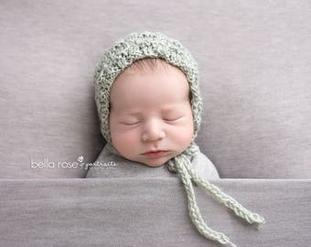 Newborn Baby Photography Photo Prop Bonnet Hand Knit Boy Hat Going Home Cap Textured Knitted Shower Gift Seafoam Infant Girl Coming Outfit