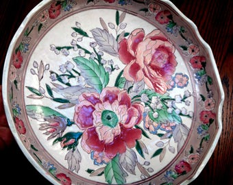 Vintage Bowl Dish Floral Ceramic Roses Pink Round Textured JC Penney Exclusive Classic Tradition Collectors Plate