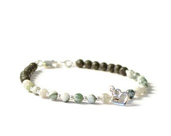 Tree Agate and Lava Rock Essential Oil Charm Bracelet, Aromatherapy Diffusing Jewelry