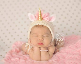 CUSTOM Unicorn Bonnet  (Gold or Silver Horned Version) Newborn Photography Prop