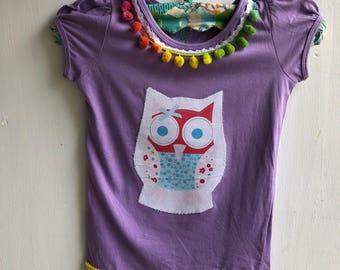 Girls t shirt, owl , pom poms, lace, rainbow
