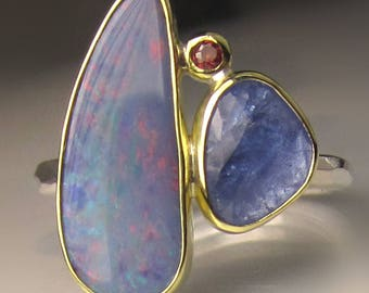 Opal Ring, Opal and Tanzanite Ring, Boulder Opal Ring, Rose Cut Tanzanite Ring, Australian Opal and Tanzanite Ring
