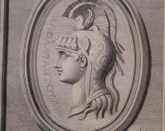 Antique Print of Minerva