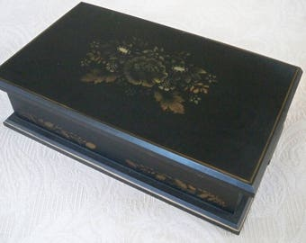 Vintage Storage Box Wood Black Tole Hand Painted Box