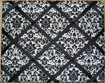 Black and White Damask Print French Memo Board  with Your choice Ribbon and in your choice of size - Bulletin Board - FREE U.S. Shipping