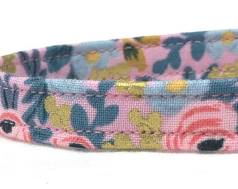 Rifle Paper Co. Cat Collar Les Fleurs Fabric Rosa Floral Violet Pink Gold Metallic