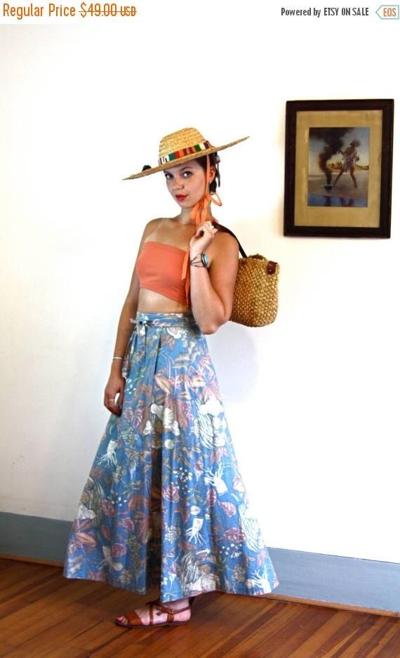 SALE 50% OFF Vintage 70s Maxi Wrap Skirt High Waisted Cotton Light Corn Flower Blue Flora & Fauna Pink Tulip Leaves Print Floral 1970s Long