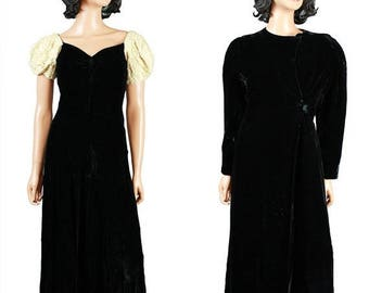 ON SALE Vintage 20s 30s Dress & Coat Set Sz S Long Black Silk Velvet Ivory Sequins Gown Flapper Great Gatsby Costume Free Us Shipping