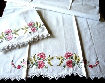 Pillow case pair Two vintage Nosegay Bouquets  EMBROIDERED Crocheted Lace