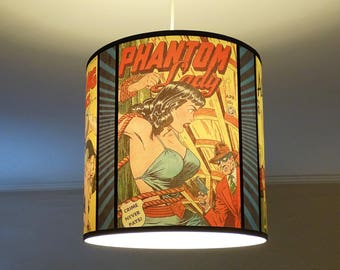 Comic Covers pendant lamp shade lampshade - accent lamp, lighting, comic book,geek decor,drum lampshade,yellow lamp shade, pin up, dorm room