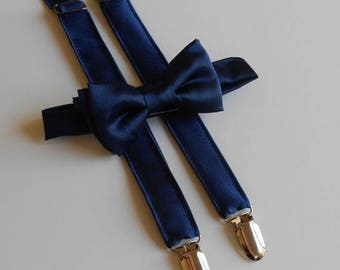Navy Satin Bowtie and Suspenders Set - Infant, Toddler, Boy                             2 weeks before shipping