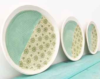 Ceramic Salad Plates, Pottery Plates, Dessert Plates, Small Ceramic Dishes, Handmade Plates, Stoneware Plate, Patterned