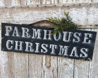 Handmade Old BARNWOOD FARMHOUSE CHRISTMAS Sign black and white