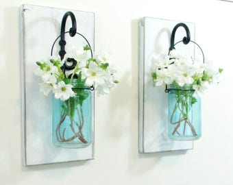Chic Farmhouse  Wood Wall Decor... 2  Hanging Turquoise Jar Wall Sconces on Distressed White Boards.Hanging Mason Jars Wall Decor