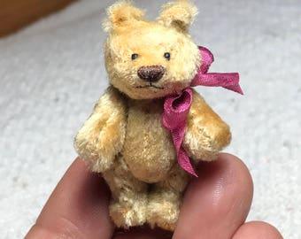 Miniature 1-3/4in. Hand Sewn Long GOLDEN YELLOW Silk Teddy Bear by Lori Wright