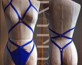 Criss Cross Burlesque Playsuit Cage Panties Halter Harness Choose a Colour Made to Order