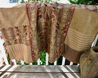 Elegant Throw - Velvet and Upholstery fabrics - Tassels - Large, 4 x 5 feet - Gorgeous!