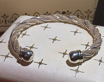 """Stunning Vintage Sterling Silver Mesh Cable Twist Cuff Bracelet ~ 8"""" 925 25g"""