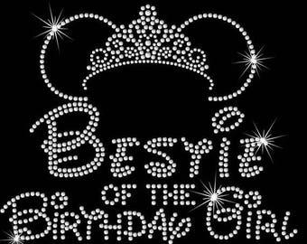 "SALE 9"" Minnie Mouse ears tiara  Bestie of the Birthday girl iron on rhinestone transfer"