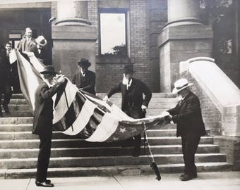 The Beautiful American Flag:  Large Vintage Photograph, Veterans with Unfolded US Flag on Building Steps
