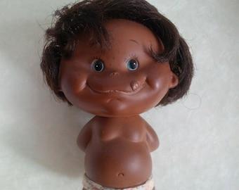 30% OFF SALE Vintage Dark brown skin boy doll holding apple - 1968 Holiday Fair Inc. Japan - rubber doll hiding red apple
