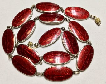Vintage Dark Red Enamel Link Necklace
